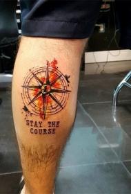 纹身指南针  方向明确的指南针纹身图案