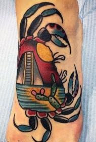 螃蟹纹身图案  张牙舞爪的螃蟹纹身图案