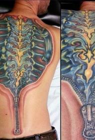 脊柱纹身男   设计感十足的男生脊柱纹身图案