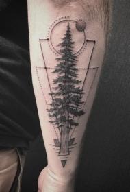 纹身树枝  枝繁叶茂的树枝纹身图案