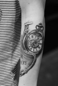 时钟纹身  警醒时间的时钟怀表纹身图案