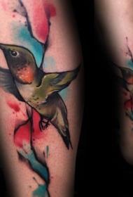 纹身鸟  小巧的蜂鸟纹身图案