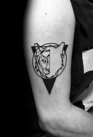 老虎頭紋身圖案  用以幾何設計的老虎頭紋身圖案
