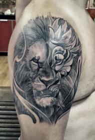 獅子 紋身圖案  氣勢十足的獅子紋身圖案