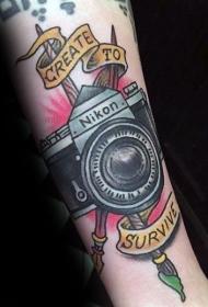 照相机纹身   多款设计感十足的照相机纹身图案
