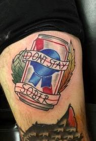 创意情侣纹身  手臂上彩色的啤酒瓶创意情侣纹身图案