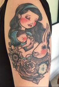 多款彩绘水彩可爱童话元素女生人物纹身图案