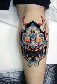 日本鬼面具纹身   鬼面獠牙的日本鬼面具纹身图片