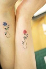 一組適合閨蜜姐妹情侶的簡約手臂小清新紋身圖案