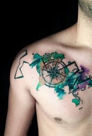 紋身指南針   多款水彩潑墨的指南針紋身圖案