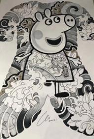 24张小猪佩奇纹身图案作品+手稿_小猪佩奇身上纹,掌声送给社会人