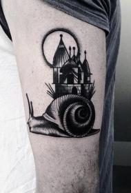 蜗牛纹身图案  施施而行的蜗牛纹身图案
