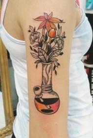 一组8张漂亮彩色的小手臂上的花朵纹身图案