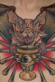 纹身蝙蝠   面貌狰狞的蝙蝠纹身图案