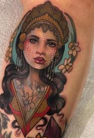 女人頭紋身圖案   多款藝術紋身彩繪風格和黑白灰風格的女人頭紋身圖案