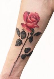 纹身唯美图片  花枝飘扬的玫瑰纹身图案