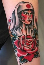 彩绘纹身-彩绘水彩素描的创意复古的女生人物纹身图案