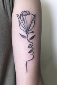 植物人面创意纹身_9张创意植物+人面简约线条纹身图案图片