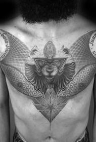 黑灰点刺几何_11张男性胸部黑灰色的几何拼接点刺纹身图案图片作品
