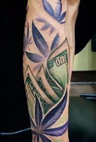 钞票纹身图案-随身带着钱的钞票创意纹身图片