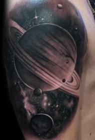 黑灰星球纹身图案_10张黑灰色的星空宇宙星球纹身图片图案