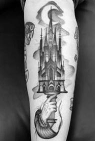 教堂建筑紋身_一組歐美教堂建筑房屋的紋身圖案作品圖片