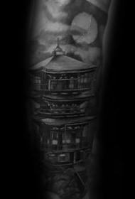 手臂纹身-宏伟绚丽的素描手臂塔纹身图案