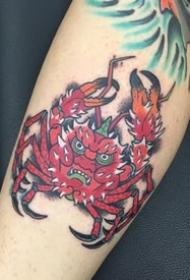螃蟹纹身图案-9款彩绘创意武士螃蟹纹身图案