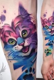 潮流纹身-色彩可爱的小猫小狗手臂纹身图片