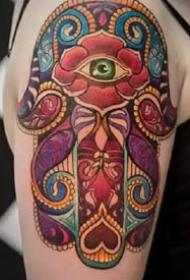 符号纹身-法蒂玛幸运之手保佑平安祈求健康的纹身图片