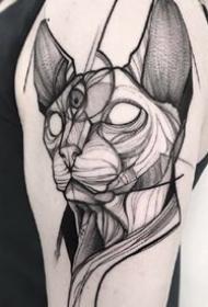 点刺纹身图案-酷炫的人物和动物的点刺纹身图片