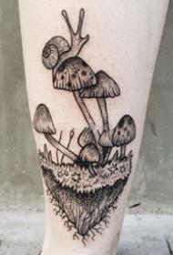 蘑菇纹身图案_9张黑灰蘑菇纹身图案刺青图片作品