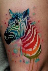 斑马纹身图案-创意的彩绘水彩素描可爱经典斑马纹身图案