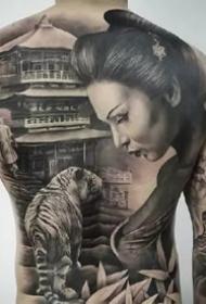 滿背紋身圖--一組霸氣的男性精品大滿背紋身作品圖案