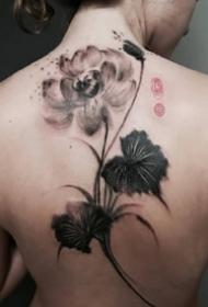 一组黑灰色中国风水墨纹身图案作品欣赏