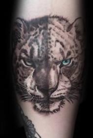 豹子紋身圖案-9張兇猛異常的雪豹紋身圖案