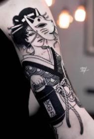 14张国外黑灰腿部和手臂的好看纹身图案欣赏