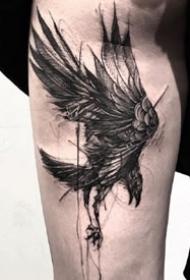 抽象笔触纹身--一组黑灰笔触抽象纹身图案作品欣赏