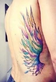 翅膀紋身圖--8張水彩色漂亮的翅膀紋身圖案