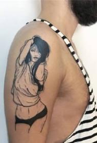创意女郎的黑色纹身图案作品
