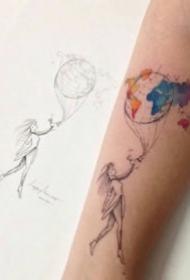极简小清新彩色简单纹身作品图片欣赏
