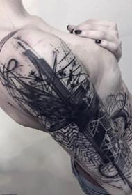 抽象水墨线条--几张黑灰抽象线条水墨纹身图案