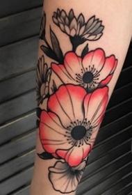 花朵纹身图案-20张身体各个部位传统彩绘纹身图案