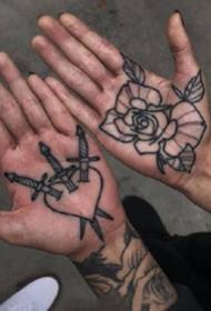 手掌纹身--一组好看的纹在手掌心里的纹身图案作品