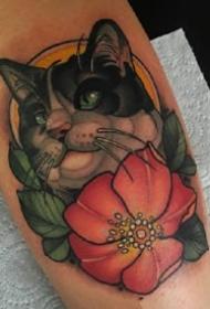 动物+花朵的一组纹身图案作品欣赏