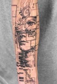 创意纹身图案-9张杯子人物肖像花狼头纹身图片