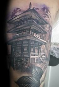 古塔纹身--9张中国风古代塔楼建筑纹身图案作品