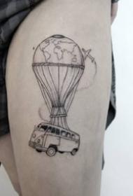 一组黑色简约线条点刺纹身图案
