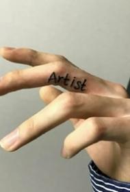 適合手指頭上的一組手指紋身小圖案欣賞