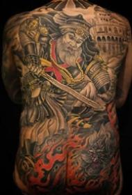 传统风格的一组男士大年夜满背纹身图案
